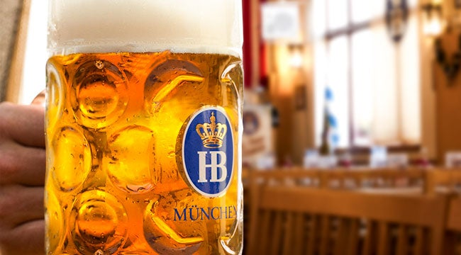 Hofbrau Original beer pairs best with traditional Leberkase