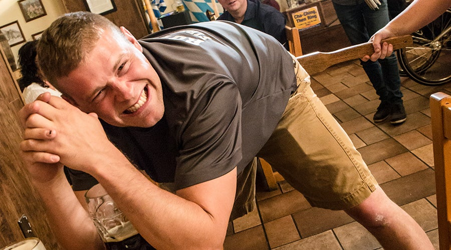 Guests get spanked during oktoberfest at hofbrauhaus las vegas
