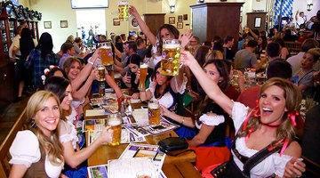 Guests celebrating during Oktoberfest at Hofbrauhaus Las Vegas